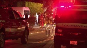 A construction worker was killed when a trench collapsed on him in Encino on July 3, 2019. (Credit: KTLA)