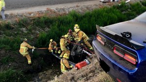 Firefighters work at the scene of a crash that left two people dead near Camarillo on July 11, 2019. (Credit: Ventura County Fire Department)