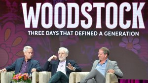 "(L-R) Joel Makower, Joel Rosenman and Barak Goodman of ""Woodstock: Three Days that Defined a Generation"" speak during the 2019 Summer TCA press tour at The Beverly Hilton Hotel on July 30, 2019 in Beverly Hills, California. (Credit: Amy Sussman/Getty Images)"