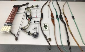 Multiple bows and arrows seized from a Big Bear City residence appear in a photo released by the San Bernardino County Sheriff's Department on Aug. 26, 2019.