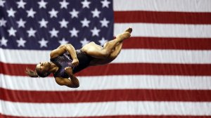 Simone Biles warms up prior to the Women's Senior competition of the 2019 U.S. Gymnastics Championships at the Sprint Center on August 11, 2019 in Kansas City, Missouri. (Credit: Jamie Squire/Getty Images)