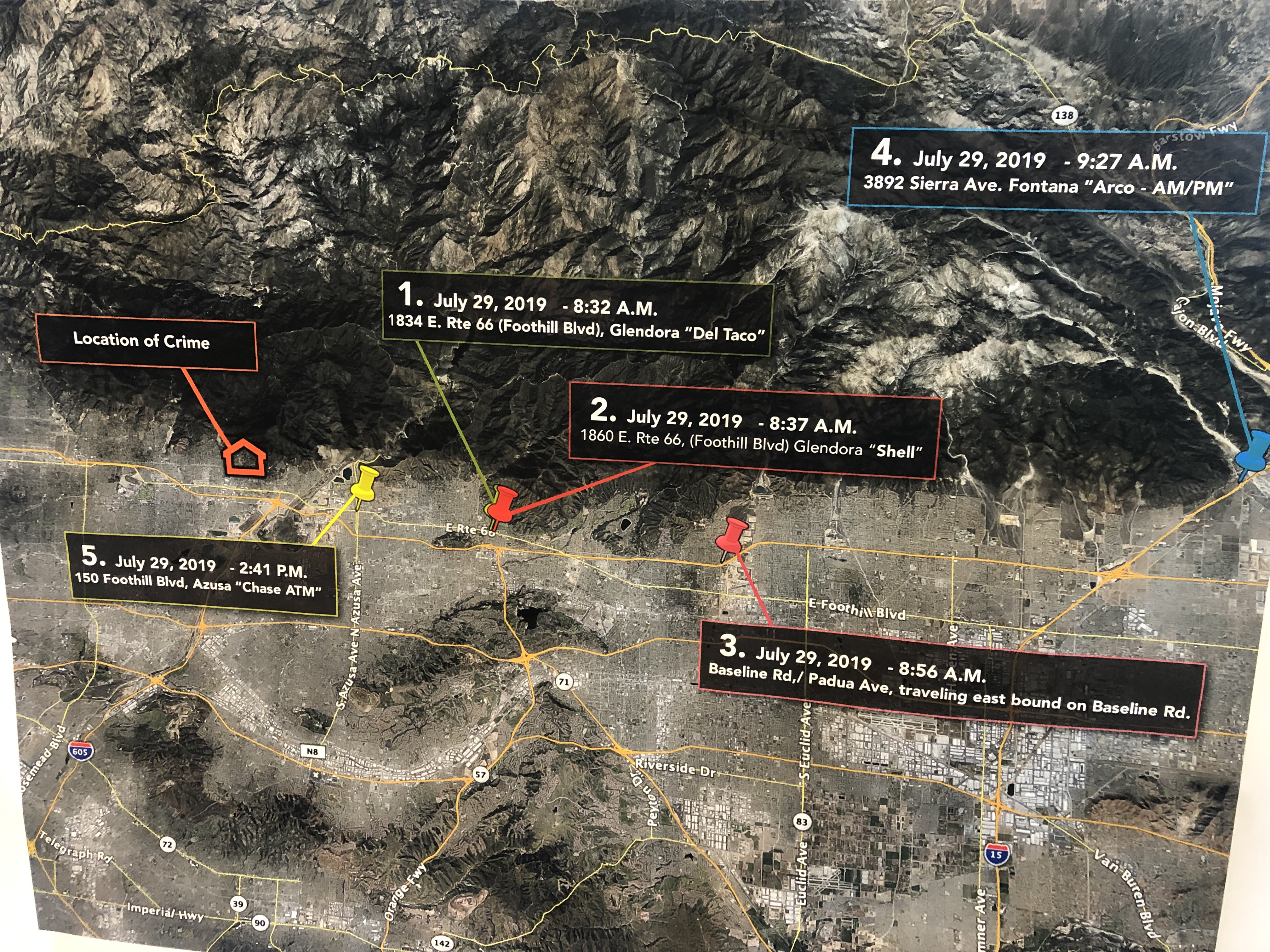 A map showing the whereabouts of Robert Camou after he allegedly kidnapped Amanda Custer was provided by the Los Angeles County Sheriff's Department on Aug. 8, 2019.