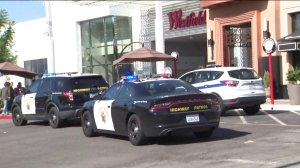 Police cars are seen outside the Westfield Topanga mall after reports of gunfire on Aug. 25, 2019. (Credit: KTLA)