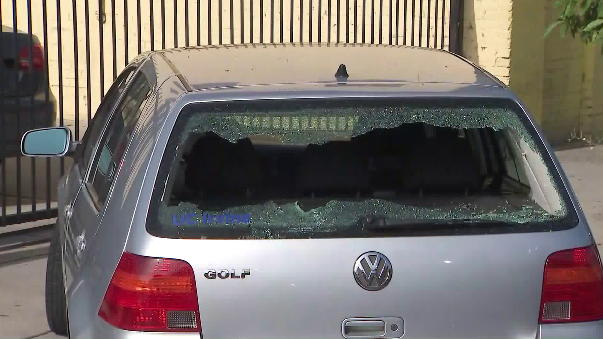 The shattered back window of a vehicle the victims were in prior to the shooting is seen on Aug. 15, 2019. (Credit: KTLA)