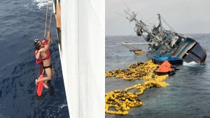 A U.S. Coast Guard rescue swimmer from a Coast Guard cutter, left, holds onto a crew member from the Ecuadorian fishing vessel Marujita about 336 miles southeast of Clipperton Island on Aug. 7, 2019. On the right, fishing nets, life rafts, and debris from Marujita float behind the capsizing vessel. (Credit: U.S. Coast Guard)