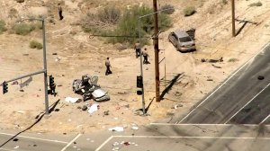 An investigation was underway in Lancaster after a fatal multivehicle crash on Aug. 14, 2019. (Credit: KTLA)