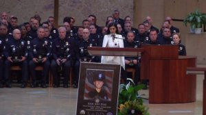 One of the sisters of slain LAPD Officer Juan Diaz speaks at a memorial service held Aug. 12, 2019, at Cathedral of Our Lady of the Angels in downtown Los Angeles. (Credit KTLA)