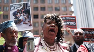 Gwen Carr, mother of Eric Garner, joins others during a news conference outside of Police Headquarters in Manhattan to protest during the police disciplinary hearing for Officer Daniel Pantaleo, who was accused of recklessly using a chokehold that led to Eric Garner's death during an arrest in July 2014 on May 21, 2019 in New York City. (Credit: Spencer Platt/Getty Images)