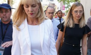 One of Jeffrey Epstein's accusers, Annie Farmer (right) looks on after a detention hearing at the U.S. Federal Court in New York City on July 15, 2019. (Credit: TIMOTHY A. CLARY/AFP/Getty Images)