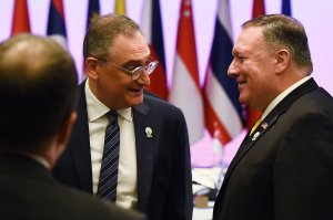 Mike Pompeo, right, speaks to Russia's Deputy Foreign Minister Igor Morgulov during the East Asia Summit Foreign Ministers' Meeting on the sidelines of the 52nd Association of Southeast Asian Nations (ASEAN) Foreign Ministers' Meeting in Bangkok on Aug. 2, 2019. (Credit: ROMEO GACAD/AFP/Getty Images)