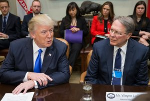 President Donald Trump sits beside CEO of the National Rifle Association Wayne LaPierre, during a meeting on Trump's nomination of Neil Gorsuch to the Supreme Court in the Roosevelt Room of the White House on Feb. 1, 2017. (Credit: Michael Reynolds - Pool/Getty Images)