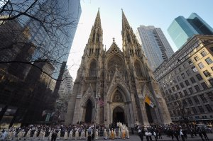 US bishops and priest arrive at Saint Patrick's Cathedral  in New York on April 19, 2008 to attend the mass celebrated by Pope Benedict XVI. (Credit: VINCENZO PINTO/AFP/Getty Images)
