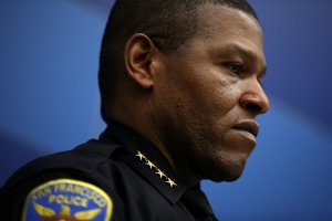 San Francisco police Chief William Scott looks on during a press conference at San Francisco police headquarters on April 6, 2018. (Credit: Justin Sullivan/Getty Images)