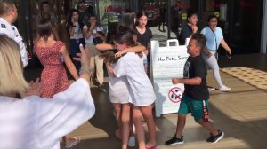 Customers flood out of the the Westfield Topanga mall after reports of gunfire on Aug. 25, 2019.(Credit: KTLA)