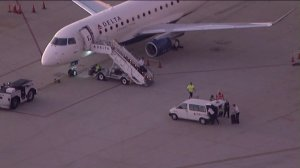 """A power outage prompted a """"full ground stop"""" at John Wayne Airport in Santa Ana on Aug. 2, 2019. (Credit: KTLA)"""