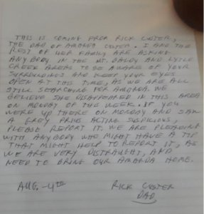 Los Angeles County Sheriff's Department officials released this photo of a letter written by Amanda Custer's father, Rick Custer, on Aug. 5, 2019.