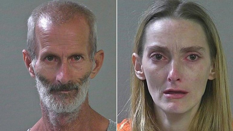 Eugene Bergener, left, and Moranda Young, right, are seen in photos from the Canyon County Jail that were obtained by KIVI and distributed by CNN.