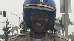 Officer Andre Moye is seen in a photo provided by the San Bernardino County Fire Department.