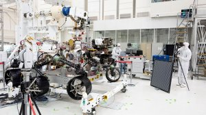 The Mars 2020 rover gets an eye exam after engineers install several cameras. (Credit: NASA Moon to Mars)