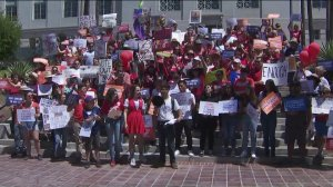 Demonstrators demand gun control during a rally in downtown Los Angeles on Aug. 17, 2019. (Credit: KTLA)