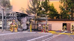 Firefighters responded to an electrical vault fire in Irvine on Aug. 2, 2019. (Credit: Orange County Fire Authority)