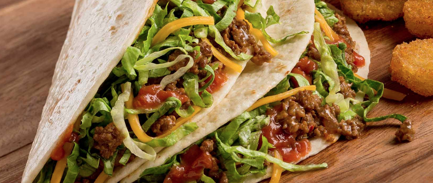 """The """"softshell tacos"""" from Taco John's are shown in a photo from the chain's website."""