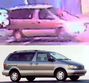 The van that struck a Los Angeles police officer in South L.A. on Aug. 26, 2019, is seen in a surveillance image released by the department, top, and below is a photo showing a similar vehicle.