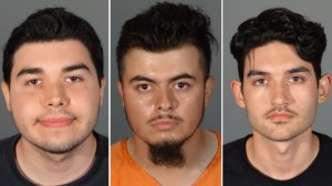 Matthew Moran, left, Eddy Saldivar, center, and Hunter Crist, right, are seen in undated photos provided by the Montebello Police Department on Aug. 13, 2019.
