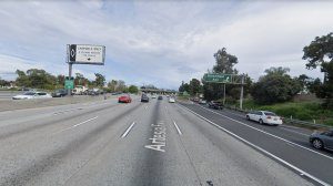 The eastbound 91 Freeway, approaching Bloomfield Avenue, in Cerritos, as pictured in a Google Street View image.