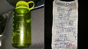 "A family stranded in the Arroyo Seco River in June 2019 included a note in a bottle that reads: ""6-15-19 WE ARE STUCK HERE @ THE WATERFALL GET HELP PLEASE."" (Credit: Curtis Whitson via CNN)"