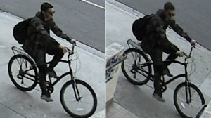 The suspect in a series of Chinatown vehicle arsons is seen in undated surveillance images released Sept. 27, 2019, by the Los Angeles Fire Department.