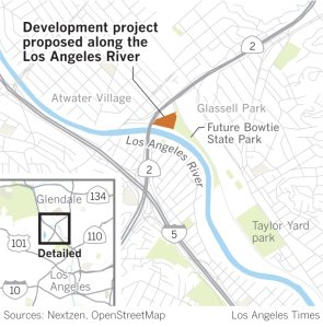 This Los Angeles Times map shows the location of the development project proposed along the L.A. River.