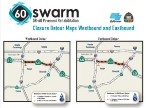 A map shows suggested detours while work continues on the 60 Freeway.(Credit: Caltrans via Los Angeles Times)
