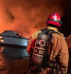 Crews respond to a boat fire near Santa Cruz Island on Sept. 2, 2019. (Credit: Ventura County Fire Department)