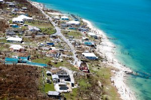 Aerial view of damage after Hurricane Dorian passed through on Sept. 5, 2019, in Great Abaco Island, Bahamas. (Credit: Jose Jimenez/Getty Images)