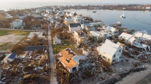 An aerial view of view of damaged homes in Hurricane Dorian-devastated Elbow Key Island on Sept. 7, 2019, in Elbow Key Island, Bahamas. The official death toll has risen to 43 and, according to officials, is likely to increase even more. (Credit: Jose Jimenez/Getty Images)