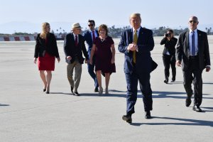 President Donald Trump lands at LAX on his way to attend fundraisers in Los Angeles on September 17, 2019. (Credit: NICHOLAS KAMM/AFP/Getty Images)