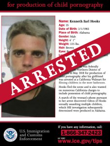 A photo of Kenneth Hooks is seen on an ICE flier announcing his arrest.