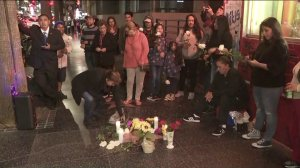 Fans pay tribute to Mexican sing Jose Jose at his star on the Hollywood Walk of Fame following his death on Sept. 28, 2019. (Credit: KTLA)