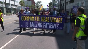Workers protest alleged unfair labor practices of Kaiser Permanente during a rally in East Hollywood on Sept. 2, 2019. (Credit: KTLA)