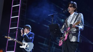 Inductee Ric Ocasek of The Cars performs during the 33rd Annual Rock & Roll Hall of Fame Induction Ceremony at Public Auditorium on April 14, 2018 in Cleveland, Ohio. (Credit: Theo Wargo/Getty Images For The Rock and Roll Hall of Fame)