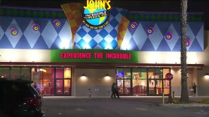 A woman was stabbed at a John's Incredible Pizza Co. location in Carson on Sept. 15, 2019. (Credit: KTLA)