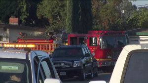 A fire truck is seen at the scene of a police standoff in Pomona on Sept. 25, 2019. (Credit: KTLA)