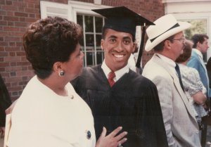 Shawn Pleasants is pictured at his Yale graduation with his mom, Gloria, in this undated photo provided to CNN.