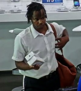 The man sought in the robbery of a Best Buy in Sawtelle is seen in a still from surveillance video released Sept. 9, 2019, by the Los Angeles Police Department.