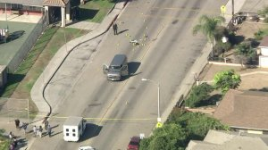 A portion of Cooper Road was blocked off near Ramona Elementary School after a boy was killed and two others injured when they were hit by a van on Sept. 30, 2019. (Credit: KTLA)