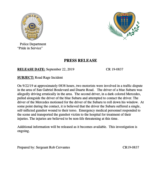 A San Marino Police Department press release, issued on Sept. 22, 2019.