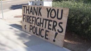 A sign thanking police and firefighters is seen in Murrieta on Sept. 6, 2019. (Credit: KTLA)