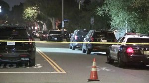 Authorities investigate the scene of a police shooting in Santa Monica on Sept. 12, 2019. (Credit: KTLA)