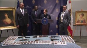 LAPD officials on Sept. 4, 2019 discuss the recovery of stolen art and artifacts that had been missing for nearly three decades. (Credit: KTLA)
